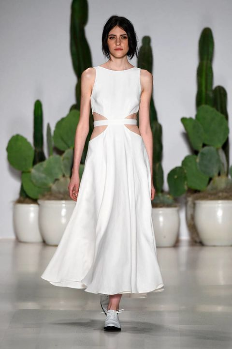 Green, Shoulder, White, Dress, Flowerpot, One-piece garment, Terrestrial plant, Gown, Houseplant, Wedding dress,