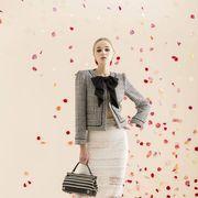 Sleeve, Human body, Textile, Pattern, Style, Street fashion, Waist, Peach, One-piece garment, Design,