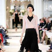 Leg, Fashion show, Shoulder, Joint, Outerwear, Runway, Style, Fashion model, Waist, Fashion accessory,