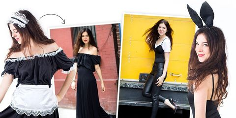 Clothing, Style, Fashion accessory, Waist, Costume accessory, Dress, Fashion, Youth, Black, Black hair,