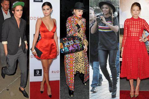 Clothing, Footwear, Leg, Dress, Hat, Red, Style, One-piece garment, Fashion, Day dress,