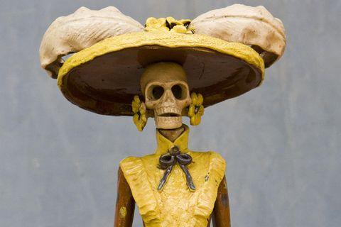 Yellow, Jaw, Amber, Sculpture, Temple, Skull, Bone, Bronze sculpture, Anthropology, Figurine,