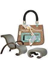 Armani Casa armchair and stool; Emporio Armani bag and pump