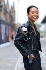 Sleeve, Jacket, Photograph, Outerwear, White, Style, Street fashion, Beauty, Fashion, Bag,