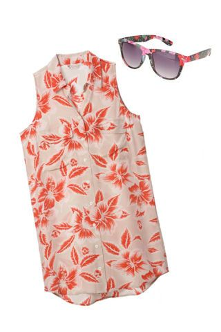 blouse and sunglasses