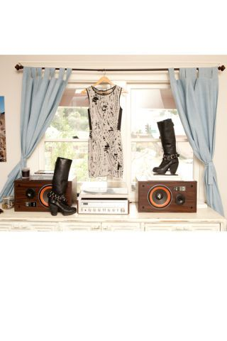 Room, Interior design, Boot, Window treatment, Curtain, Still life photography, Collection, Loudspeaker,
