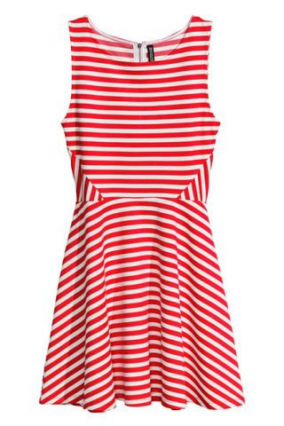 Product, Textile, Pattern, White, Red, Dress, Orange, Style, Line, One-piece garment,