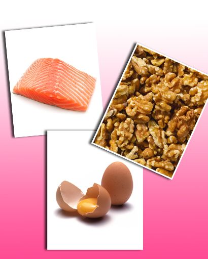 eggs, salmon, walnuts