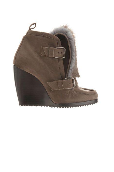 Pierre Hardy rabbit fur wedge boots