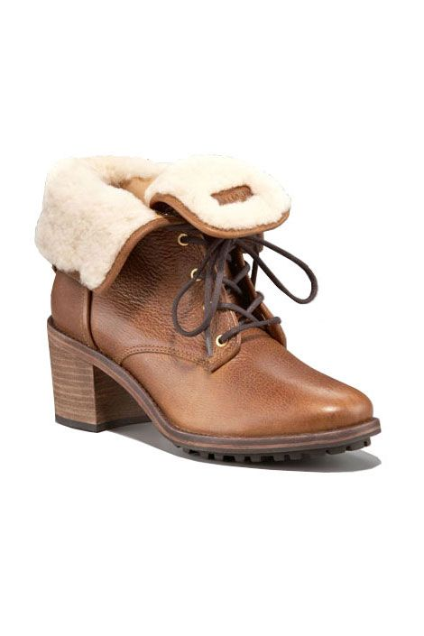 Hunter shearling-lined leather lace-up boots