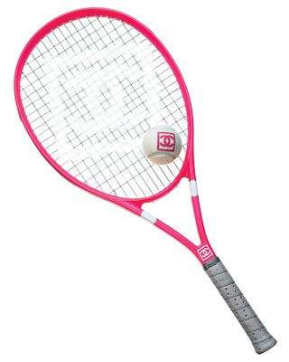 Chanel tennis racquet and tennis ball