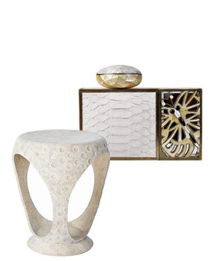 R&Y Augousti stool and minaudière