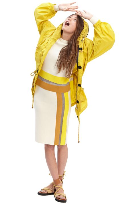 Yellow, Sleeve, Joint, Costume design, Costume, Costume accessory, Fashion, Knee, Sandal, High heels,
