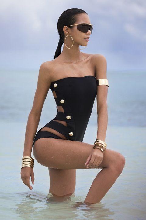 Clothing, Monokini, One-piece swimsuit, Swimwear, Shoulder, Fashion model, Maillot, Model, Bikini, Photo shoot,