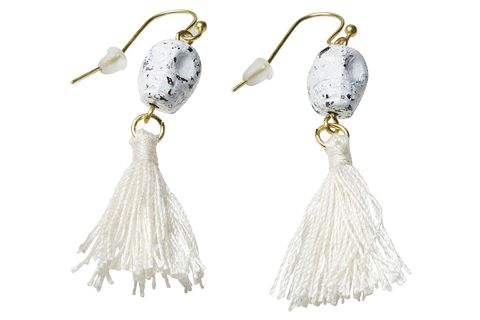 Earrings, Product, White, Fashion accessory, Natural material, Fashion, Grey, Ivory, Bridal accessory, Silver,