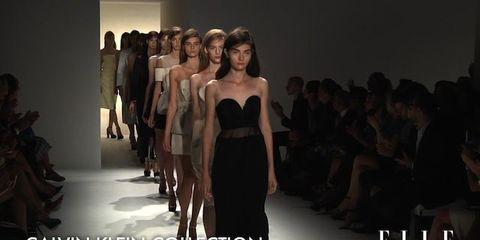 Fashion show, Event, Shoulder, Runway, Joint, Dress, Waist, Style, Fashion model, Strapless dress,