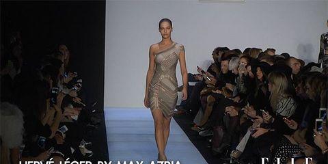 Fashion show, Event, Runway, Shoulder, Dress, Fashion model, Style, Fashion, Model, Public event,