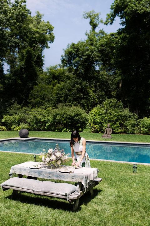 Swimming pool, Leisure, Summer, Dress, Vacation, Garden, Aqua, Resort, Park, Shrub,