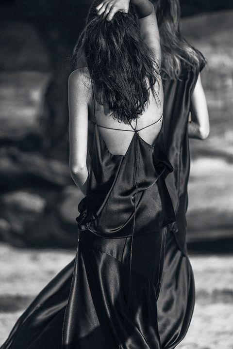 Shoulder, Textile, Style, Fashion model, Satin, Back, Long hair, Street fashion, Day dress, Bag,