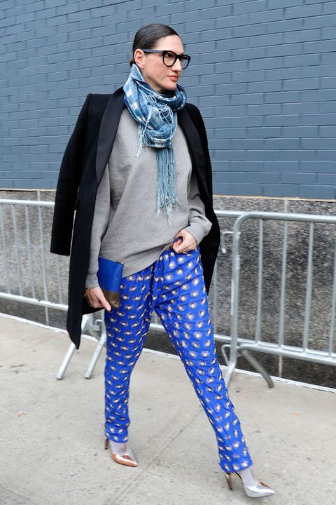 Blue, Sleeve, Trousers, Textile, Outerwear, Style, Coat, Sunglasses, Street fashion, Electric blue,