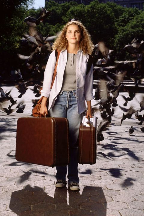 Clothing, Brown, Trousers, Denim, Textile, Outerwear, Bag, Style, Bird, Street fashion,