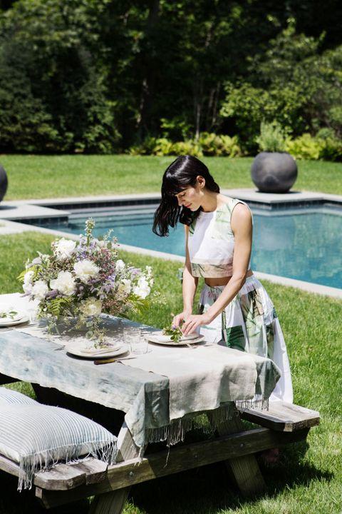 Petal, Dress, Garden, Bouquet, Bag, Linens, Tablecloth, Cut flowers, Lawn, Sandal,