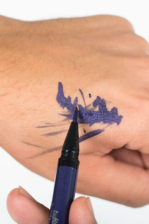 Finger, Blue, Skin, Writing instrument accessory, Nail, Electric blue, Purple, Cobalt blue, Thumb, Office supplies,