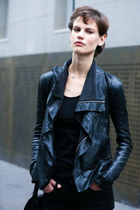 Clothing, Ear, Jacket, Sleeve, Textile, Collar, Outerwear, Style, Street fashion, Bag,