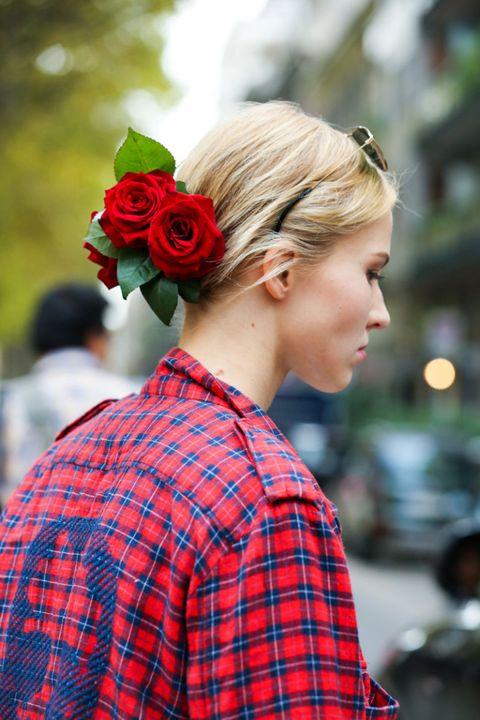 Plaid, Hairstyle, Pattern, Tartan, Petal, Collar, Textile, Shirt, Red, Flower,