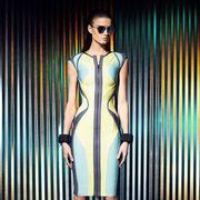 Dress, Shoulder, Human leg, Joint, Fashion model, One-piece garment, Style, Fashion show, Sunglasses, High heels,
