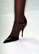 Footwear, Human leg, High heels, Fashion, Black, Leather, Tan, Sandal, Foot, Close-up,