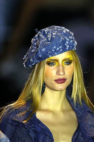 Clothing, Electric blue, Headgear, Costume accessory, Fashion, Cobalt blue, Street fashion, Blond, Costume, Makeover,