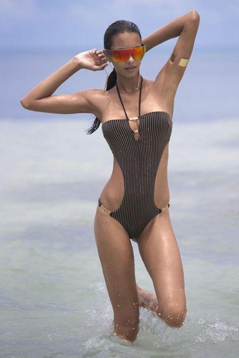 Shoulder, Swimwear, Joint, Summer, One-piece swimsuit, Leotard, Elbow, Waist, Chest, Maillot,