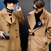 Coat, Collar, Sleeve, Outerwear, Overcoat, Pocket, Sunglasses, Blazer, Street fashion, Fashion,
