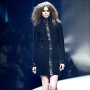 Clothing, Fashion show, Shoulder, Human leg, Joint, Outerwear, Fashion model, Formal wear, Style, Knee,