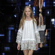 Clothing, Dress, Shoulder, Human leg, Joint, Style, One-piece garment, Fashion model, Fashion, Fashion show,