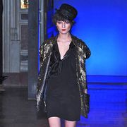 Blue, Dress, Hat, Style, One-piece garment, Fashion, Electric blue, Black, Day dress, High heels,