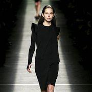 Clothing, Sleeve, Dress, Human body, Shoulder, Human leg, Fashion show, Joint, Runway, Formal wear,