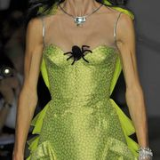 Clothing, Green, Dress, Yellow, Shoulder, Joint, One-piece garment, Cocktail dress, Formal wear, Pattern,