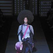 Hat, Headgear, Knee, Fashion, Costume accessory, Magenta, Costume design, Runway, Sun hat, Fur,