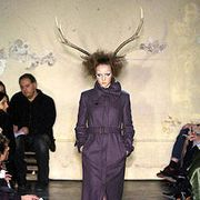 Antler, Style, Horn, Fashion, Fashion model, Natural material, Leather, Costume design, Runway, Fashion design,