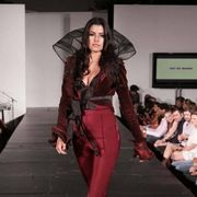 Fashion show, Fashion model, Runway, Fashion, Model, Costume design, Fashion design, Haute couture, Waist, Leather,