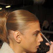 Hairstyle, Eyebrow, Style, Eyelash, Brush, Nail, Personal grooming, Blond, Makeup artist, Brown hair,
