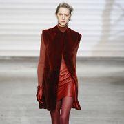 Clothing, Fashion show, Shoulder, Red, Joint, Human leg, Dress, Runway, Style, Fashion model,