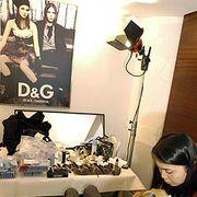 Human, Hairstyle, Room, Lamp, Black hair, Long hair, Brown hair, Picture frame, Layered hair, Hair accessory,