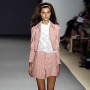 Clothing, Leg, Brown, Human leg, Shoulder, Fashion show, Joint, Style, Fashion model, Runway,