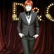 Trousers, Collar, Formal wear, Style, Blazer, Suit, Suit trousers, Fashion, Red hair, Curtain,