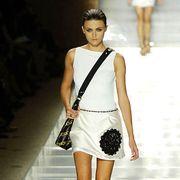 Human leg, Shoulder, Fashion show, Stairs, Joint, Dress, White, Fashion model, Bag, Style,