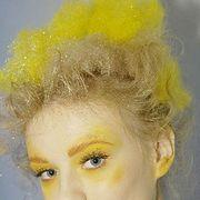 Head, Nose, Lip, Cheek, Yellow, Hairstyle, Eye, Chin, Forehead, Eyebrow,