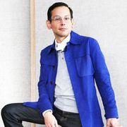 Blue, Dress shirt, Collar, Sleeve, Trousers, Human body, Shoulder, Standing, Textile, Sitting,